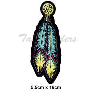 Tribal Feathers yellow blue American Indian Embroidered Sew  Iron on Patch Biker