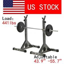 Pair of Adjustable Rack Steel Squat Barbell Free Bench Press Stands GYM Y3Z1