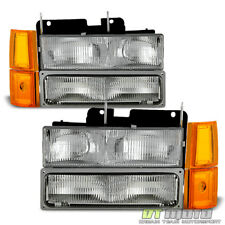 [8PC] 1994-1998 GMC Pickup Sierra Suburban Yukon Headlights+Corner+Signal Lamps