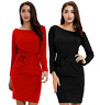 Women's Bandage Long Sleeve Solid O-Neck Belt Bow Bodycon Xmas Party Dress S-2XL