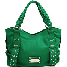 New Women's Handbag Studded Faux Leather Tote Bag Braided Straps Purse Green