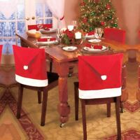 Set of 4 Santa Claus Hat Christmas Kitchen Dining Chair Back Covers
