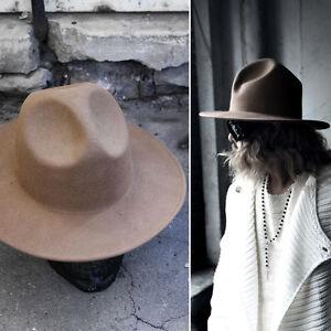 ByTheR Modern Classic Wide Brim Wool Felt Chic Mountain Fedora Hat Beige N