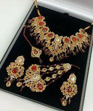 Bollywood Indian Maroon Bridal Jewellery Set With Earrings & Jhumki