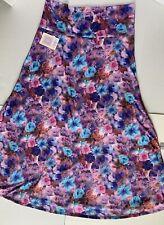 New Lularoe Maxi Skirt 3XL Watercolor Roses - Pink, Blue,purple