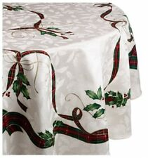 """Lenox Holiday Nouveau Tablecloth, 70"""" Round Ivory NEW"""