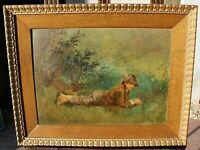 """Joseph Heilmair(1843-1923)""""Hütebub"""" Öl/Leinw./kaschiert 31x41cm, Nachlaßstempel"""