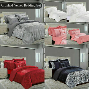 Luxury Crushed Velvet Grey White Duvet Cover Bedding Set Double King With Pillow