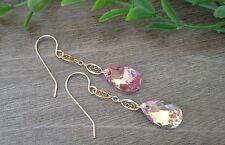 Light Pink Swarovski Crystal Teardrop Long Oval 14K Gold Filled Dangle Earrings