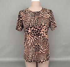 SUSAN GRAVER WomensLustra Knit Animal Print Short Sleeve Top-Blouse-Sz.Small-A+