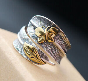 D10 Ring Feather with Butterfly And Leaf 925 Sterling Silver