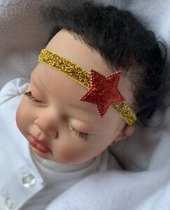 Wonder Woman Red Sparkle Star Hair Bow Headband fit Preemie To Toddler Halloween
