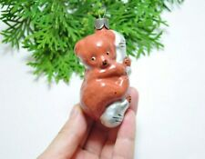 Bear Russian Soviet Glass Christmas Ornament  1950s Christmas/New Year