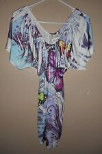 NWT  SEXY JUJU & B Multicolor Floral butterfly tunic dress Top Sz SMALL stretch