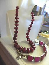 Vintage Arts & Crafts Machine Age Modern Dyed Magenta Quartz Bracelet Necklace
