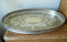 LOVELY VINTAGE 1930-50s OVAL SHEFFIELD SILVER PLATED CHASED PIERCED GALLERY TRAY