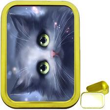CUTE CAT FACE 2oz GOLD TOBACCO TIN, SEALED TOBACCO TIN