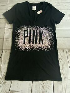 Victoria Secret PINK Size S Womens Short Sleeve  Bling T-Shirt Black NWT