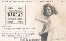 NEW YORK, NY, THOMPSON-PETTIT CO REAL PHOTO ADV PC FOR BAGDAD CANDY, c. 1903-06