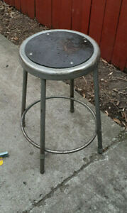 Vintage Industrial Factory Krueger Steel Stool, Green Bay WI Round fiber seat  b