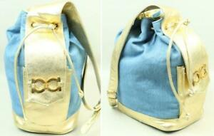 Vtg PAUL JOSEPH Blue Denim Metallic Gold Leather Bucket Purse Hobo Shoulder Bag