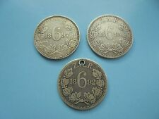 South Africa, 3 silver Sixpences, 1892 1894 & 1897.