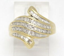10k Yellow Gold Round & Baguette Diamond Right Hand Ring .64ct