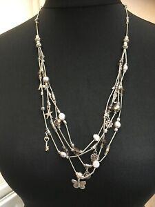 Pretty silver-toned metal multi-strand necklace N021