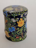 """Daher Floral Flowers Butterflies Black Tin Canister Container Lidded 4-3/4"""" Tall"""