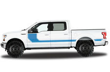 Vinyl Decal Wrap Kit RALLY STRIPE for Ford F-150 2015-17 BLUE SuperCrew 5.5 Bed