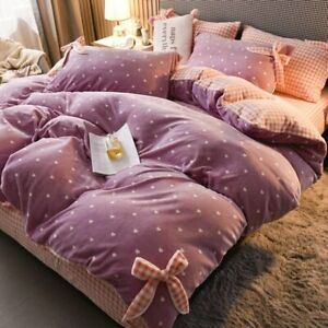 Winter Milk Fleece 4-piece Double-sided Flannel Quilt Cover Sheet Flannel Coral