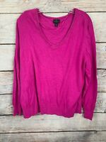 WOMEN'S WORTHINGTON PINK PULLOVER V-NECK SWEATER SIZE 3X LONG SLEEVES