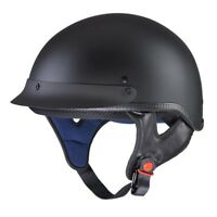 Motorcycle Half Face Helmet DOT Approved Motorbike Cruiser Chopper Matt Black S