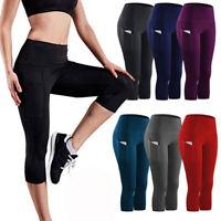 Hot Womens Capri Yoga Leggings Pants Cropped Sports Gym Fitness Workout Trousers