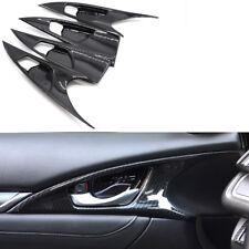 For Honda Civic 2016-17 4Pcs Carbon Fiber Style Interior Door Handle Cover Trim