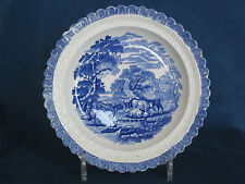 Early C19 English dessert plate with moulded basket weave arcaded border c.1820