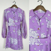 Vtg 60s 70s PURPLE FLOWER POWER SHIRT DRESS Hippie Festival Floral SHEER SLEEVES