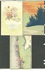 3 Diff Early Japanese Postcard The Moon Of Yumoto Spring In Futamatawo Path Pine