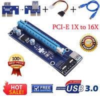 Molex PCI-E 1x to 16x Extender Adapter Riser Card USB3.0 Data Power Cable Kit