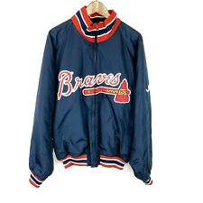 MLB Atlanta Braves Majestic Men's Navy Red Size Large Fleece Lined Jacket