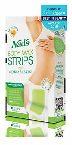 => Nads Hair Removal Body Wax Strips 20 Large Strips For Normal Skin