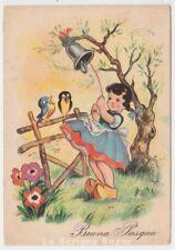 carte postale Tél. fg 352 souhaite Bonne Pâques petite fille cloche oiseaux