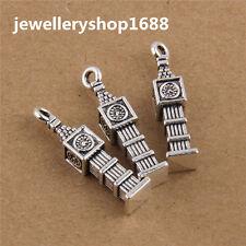 Tibetan Silver Three-dimensional Big Ben Charms For Jewelry Making 27x6mm 8Pcs