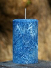 40hr BLUE SAGE & LAVENDER Triple Scented Natural PILLAR Candle STRESS RELIEVING