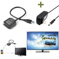 USB 3.0 to SATA 2.5/3.5'' HDD SSD Hard Drive Disk Converter Cable +Power Adapter