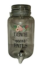 New listing Glass Tea Jug Juice Jar Spiget Hinged Love Never Fails Flowers Approximately 1 G