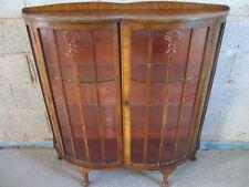 Double bow fronted Walnut 2 door display cabinet (ref 1156)