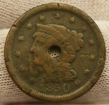 1850 LARGE CENT BRAIDED HAIR #1789 holed United States cent COPPER PENNY 1 cent
