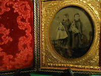 1/6 Tintype 2 Young Girls Holding Their Dolls in Full Complete Case