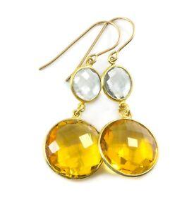 "Citrine Earrings Yellow Double Round Sim Simple Bezel Dangle Drops 2"" 14k Gold"